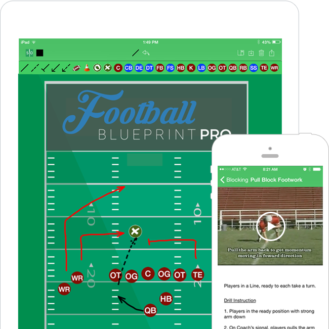 Football play designer football blueprint simply download the app to your smartphone or tablet and you can access our easy to use tools drills and plays all delivered in a brain dead simple malvernweather Choice Image
